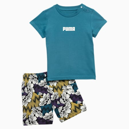 Summer Allover-Print Babies Set, Moroccan Blue, small