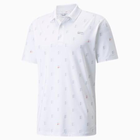 MATTR Moving Day Men's Golf Polo Shirt, Bright White-Vibrant Orange, small