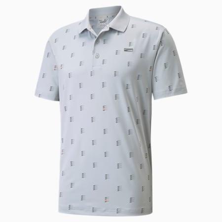 MATTR Moving Day Men's Golf Polo Shirt, High Rise-Vibrant Orange, small