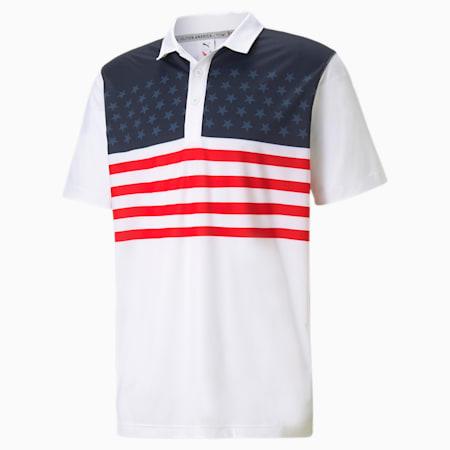 Camiseta de golf tipo polo Volition MATTR Banner para hombre, Bright White, pequeño