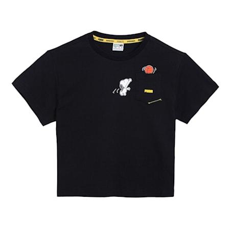 PUMA x PEANUTS Kids' Relaxed T-shirt, Puma Black, small-IND