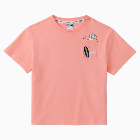 PUMA x PEANUTS Kids' Tee, Apricot Blush, small-SEA