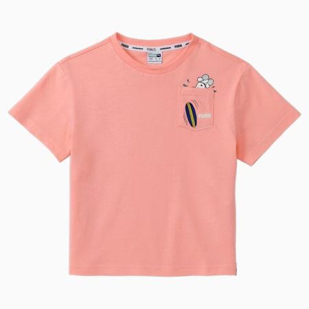 PUMA x PEANUTS Kids' Tee, Apricot Blush, small-GBR