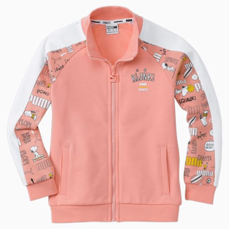 PUMA x PEANUTS Kids' Track Jacket, Apricot Blush, small
