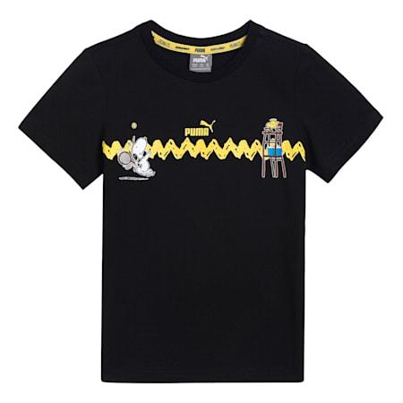PUMA x PEANUTS Graphic Kids'  T-shirt, Puma Black, small-IND