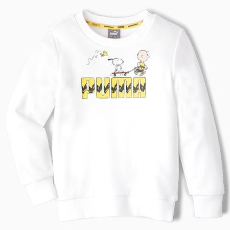 Sudadera de cuello redondo PUMA x PEANUTS para niños, Puma White, small