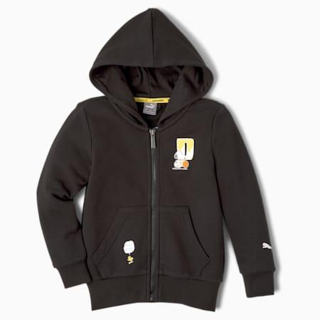 PUMA x PEANUTS Full-Zip Kids' Hoodie, Puma Black, small