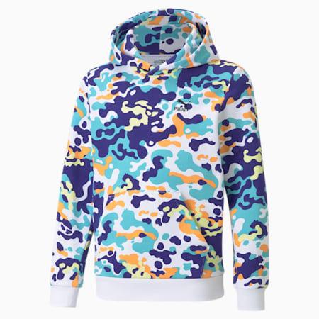 Classics hoodie met grafische print jongeren, Elektro Blue, small