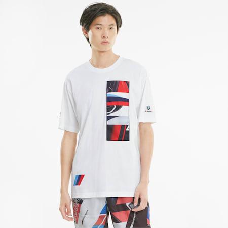 Męski dzianinowy T-shirt BMW M Motorsport Street, Puma White, small