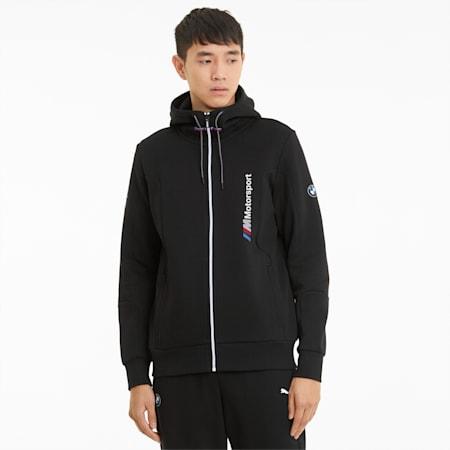 BMW M Motorsport Hooded Men's Sweat Jacket, Puma Black, small