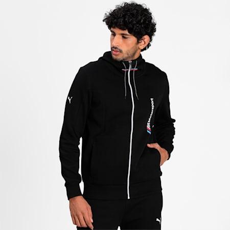 BMW M Motorsport Hooded Men's Sweat Jacket, Puma Black, small-IND