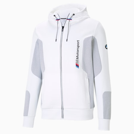 BMW M Motorsport Hooded Men's Sweat Jacket, Puma White, small-IND