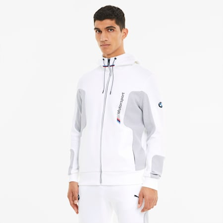 BMW M Motorsport Hooded Men's Sweat Jacket, Puma White, small