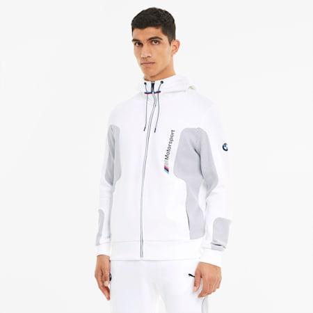 BMW M Motorsport Hooded Men's Sweat Jacket, Puma White, small-GBR