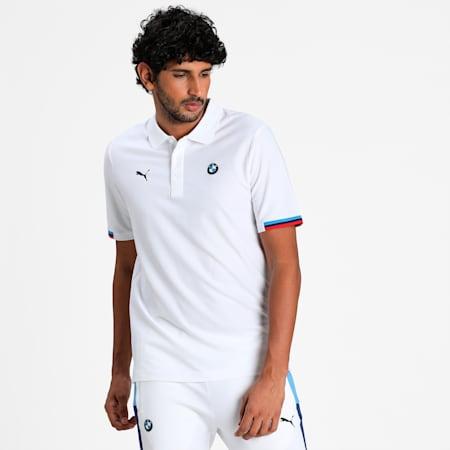 BMW M Motorsport Men's Polo Shirt, Puma White, small-IND