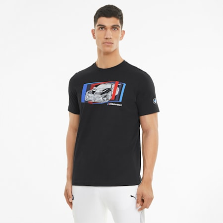 BMW M Motorsport Car Graphic Men's  T-shirt, Puma Black, small-IND