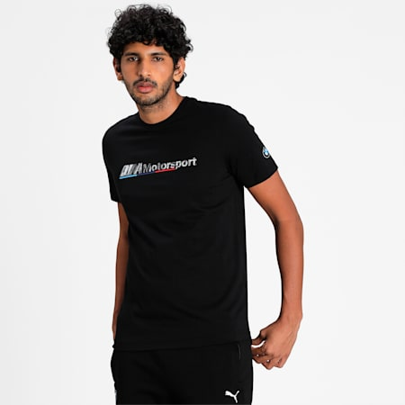 BMW M Motorsport Logo Men's  T-shirt, Puma Black, small-IND