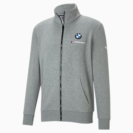 BMW M Motorsport Essentials Men's Sweat Jacket, Medium Gray Heather, small-IND