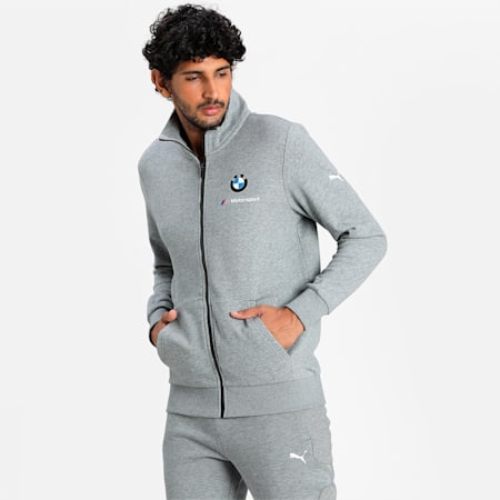 BMW M Motorsport Essentials Men's Sweat Jacket, Medium Gray Heather, small-IND