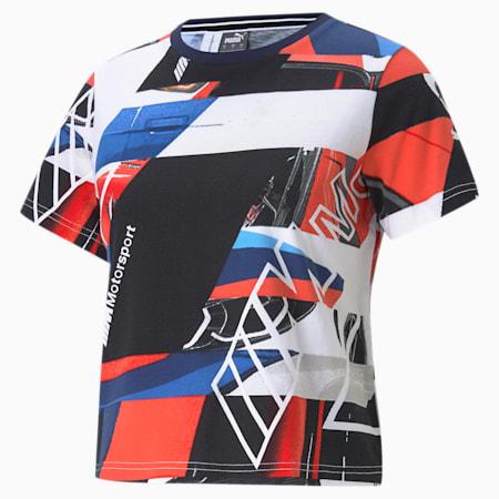 BMW M Motorsport Street Damen T-Shirt, Marina-Blueprint-High Risk Red, small