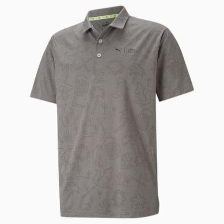 PUMA x FIRST MILE Flash golfpoloshirt heren, QUIET SHADE Heather, small