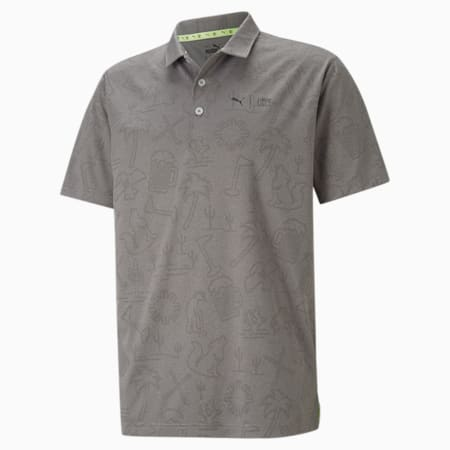 PUMA x FIRST MILE Flash Men's Golf Polo Shirt, QUIET SHADE Heather, small-GBR