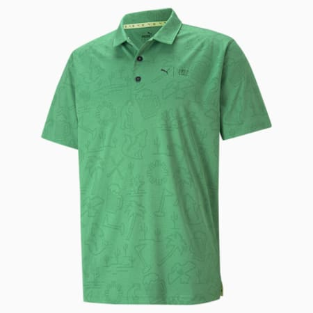 PUMA x FIRST MILE Flash Men's Golf Polo Shirt, Amazon Green Heather, small