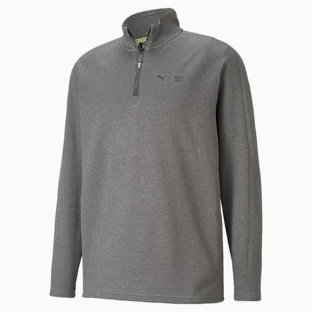 PUMA x FIRST MILE Flash Quarter-Zip Men's Golf Sweater, QUIET SHADE Heather, small