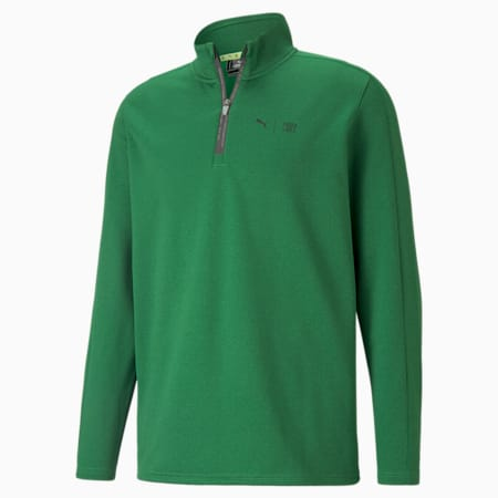 PUMA x FIRST MILE Flash Quarter-Zip Men's Golf Sweater, Amazon Green Heather, small