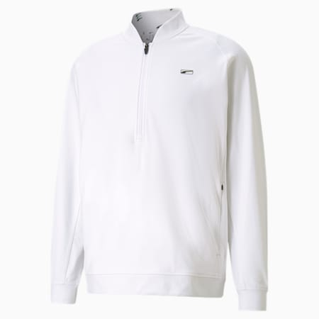 CLOUDSPUN Moving Day golfsweater met kwartrits voor heren, Bright White, small