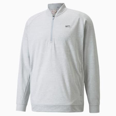 CLOUDSPUN Moving Day Quarter-Zip Men's Golf Sweater, High Rise-Vibrant Orange, small