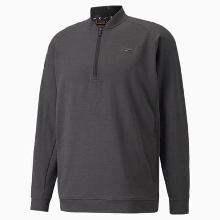 CLOUDSPUN Moving Day Quarter-Zip Men's Golf Sweater, Puma Black-Vibrant Orange, small