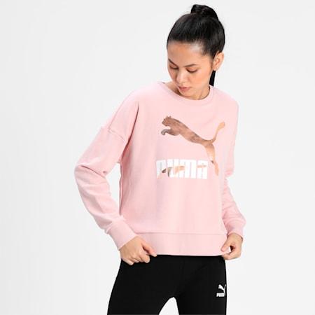 Classics Logo Crew Neck Women's Sweater, Peachskin-metallic, small-IND