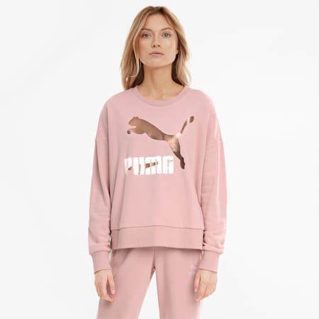 Classics Logo Crew Neck Women's Sweater, Peachskin-metallic, small-SEA