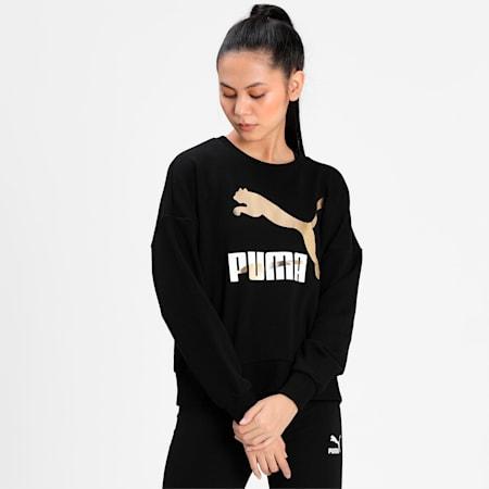 Classics Logo Crew Women's Relaxed Sweat Shirt, Puma Black-metallic, small-IND