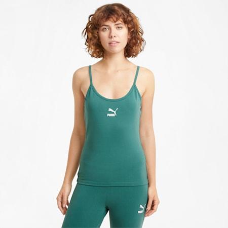 Camiseta de tirantes Classics Logo para mujer, Blue Spruce, small
