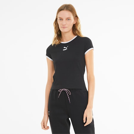 Classics Fitted Damen T-Shirt, Puma Black, small