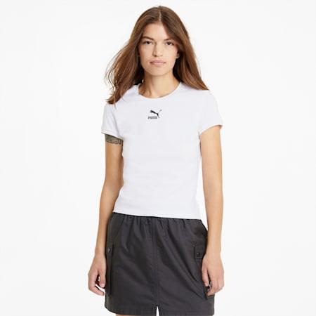 Classics Fitted Damen T-Shirt, Puma White, small