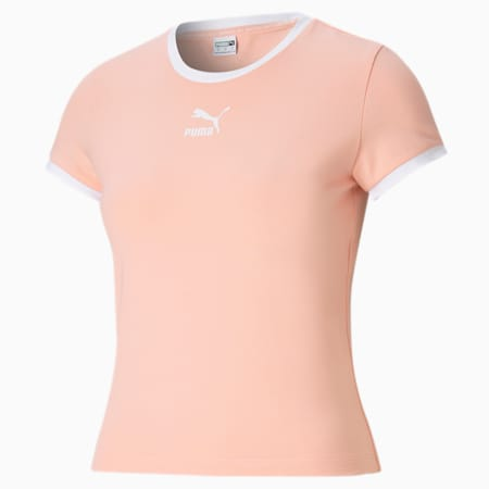 Classics Fitted Slim Fit Women's T-shirt, Apricot Blush, small-IND