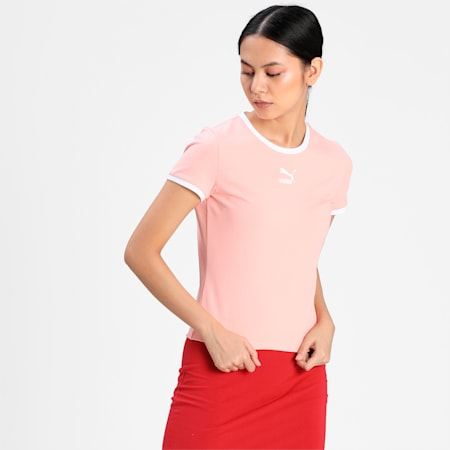 Classics Fitted Women's Slim T-shirt, Apricot Blush, small-IND