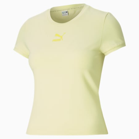 Classics Fitted Slim Fit Women's T-shirt, Yellow Pear, small-IND