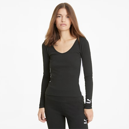 Classics Women's Ribbed Long Sleeve Top, Puma Black, small-GBR