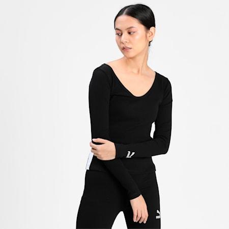 Classics Ribbed Long Sleeve Women's Top, Puma Black, small-IND