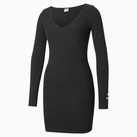 Classics Ribbed Bodycon Women's Dress, Puma Black, small