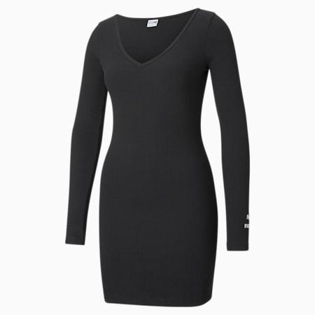 Classics Ribbed Bodycon Women's Dress, Puma Black, small-GBR