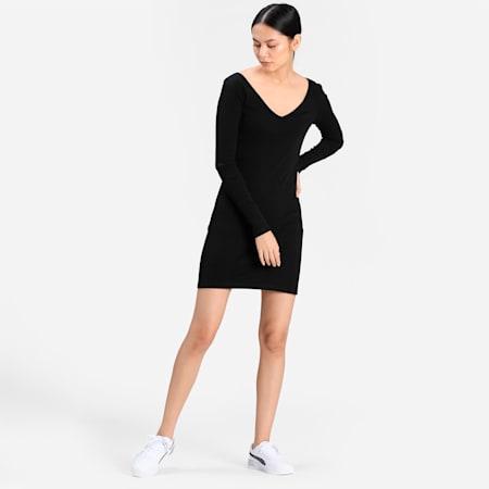 Classics Ribbed Bodycon Women's Dress, Puma Black, small-IND