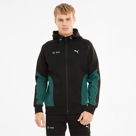 Mercedes F1 Hooded Men's Sweat Jacket, Puma Black, small