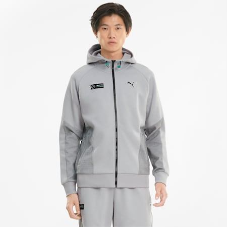Mercedes-AMG Petronas F1 Men's Hooded Sweat Jacket, Mercedes Team Silver, small