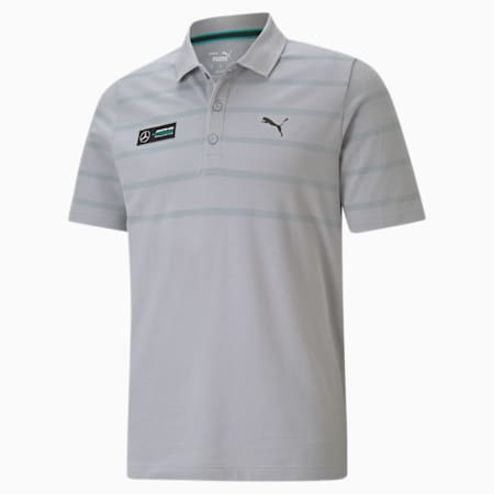 Mercedes-AMG Petronas F1 Men's Striped Polo, Mercedes Team Silver, small