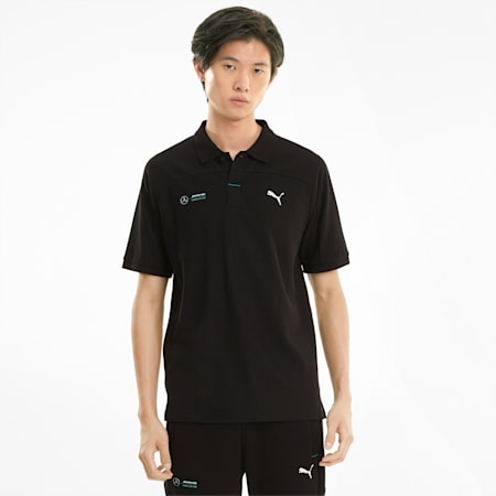 Mercedes F1 Men's Polo Shirt, Puma Black, small-GBR